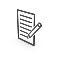 Symbol Document With Pen Black PNG & PSD Images
