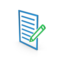 Symbol Document With Pen Colored Metallic PNG & PSD Images