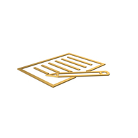Gold Symbol Document With Pen PNG & PSD Images