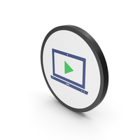 Icon Notebook With Play Button Colored PNG & PSD Images