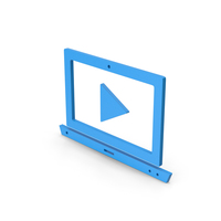 Symbol Notebook With Play Button Blue PNG & PSD Images
