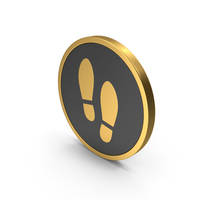 Gold Icon Shoe Footprint PNG & PSD Images