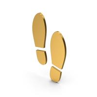 Symbol Shoe Footprint Gold PNG & PSD Images