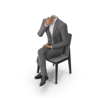 Chair Thinking Suit Grey PNG & PSD Images