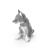 Young Wolf Statue PNG & PSD Images
