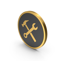 Gold Icon Wrench And Hammer PNG & PSD Images