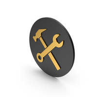 Wrench And Hammer Gold Icon PNG & PSD Images