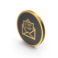 Gold Icon Envelope With Checklist PNG & PSD Images