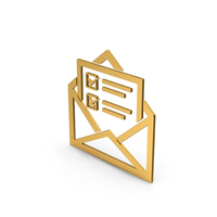 Symbol Envelope With Checklist Gold PNG & PSD Images