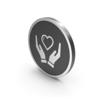 Silver Icon Heart In Hands PNG & PSD Images