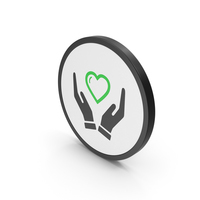 Icon Heart In Hands Green PNG & PSD Images
