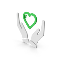 Symbol Heart In Hands Green PNG & PSD Images