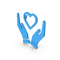 Symbol Heart In Hands Blue PNG & PSD Images