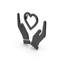 Symbol Heart In Hands Black PNG & PSD Images