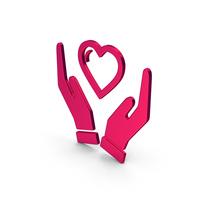 Symbol Heart In Hands Metallic PNG & PSD Images
