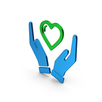 Symbol Heart In Hands Colored Metallic PNG & PSD Images