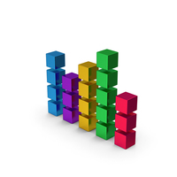 Cube Chart Colored Metallic PNG & PSD Images