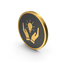 Gold Icon Hands Holding Light Bulb PNG & PSD Images