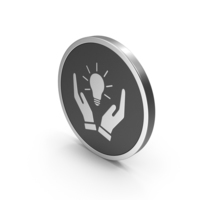 Silver Icon Hands Holding Light Bulb PNG & PSD Images