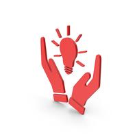 Symbol Hands Holding Light Bulb Red PNG & PSD Images