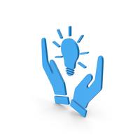 Symbol Hands Holding Light Bulb Blue PNG & PSD Images