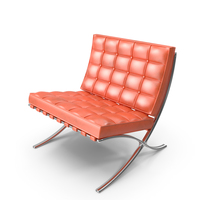 Knoll Orange Leather Barcelona Chair PNG & PSD Images