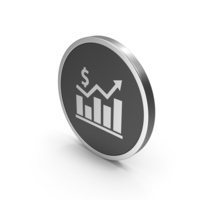 Silver Icon Graph Chart With Dollar Sign PNG & PSD Images