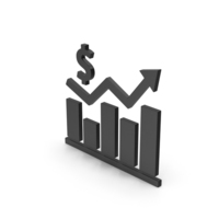 Symbol Graph Chart With Dollar Sign Black PNG & PSD Images