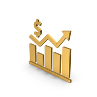 Symbol Graph Chart With Dollar Sign Gold PNG & PSD Images