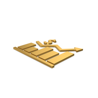 Gold Symbol Graph Chart With Dollar Sign PNG & PSD Images