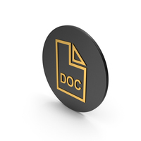 DOC File Gold Icon PNG & PSD Images