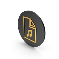 Music File Gold Icon PNG & PSD Images