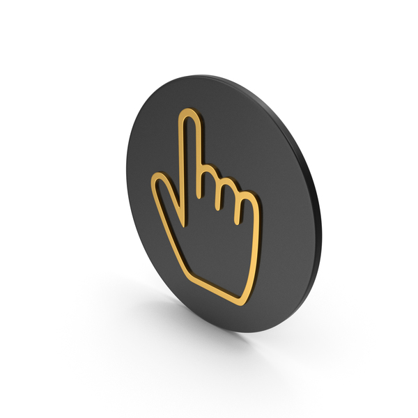 Hand Cursor Gold Icon PNG & PSD Images