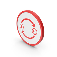 Icon Exchange Dollar With Euro Red PNG & PSD Images