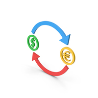 Symbol Exchange Dollar With Euro Colored PNG & PSD Images