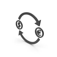 Symbol Exchange Dollar With Euro Black PNG & PSD Images