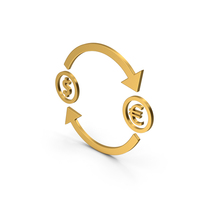 Symbol Exchange Dollar With Euro Gold PNG & PSD Images