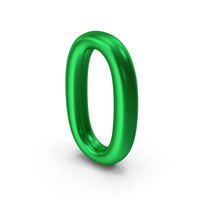Number 0 Green Metallic PNG & PSD Images