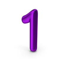 Number 1 Purple Metallic PNG & PSD Images