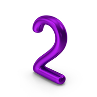 Number 2 Purple Metallic PNG & PSD Images