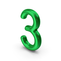 Number 3 Green Metallic PNG & PSD Images