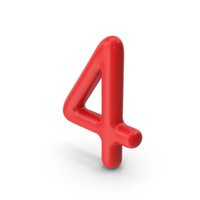 Number 4 Red PNG & PSD Images