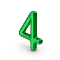 Number 4 Green Metallic PNG & PSD Images