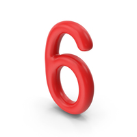 Number 6 Red PNG & PSD Images