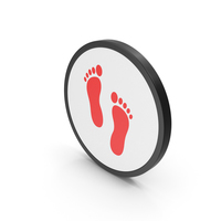 Icon Footprint Red PNG & PSD Images