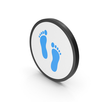 Icon Footprint Blue PNG & PSD Images