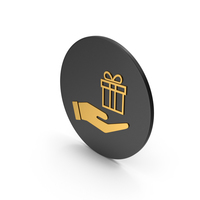 Hand Holding Gift Gold Icon PNG & PSD Images