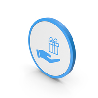 Icon Hand Holding Gift Blue PNG & PSD Images