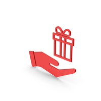 Symbol Hand Holding Gift Red PNG & PSD Images
