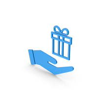Symbol Hand Holding Gift Blue PNG & PSD Images